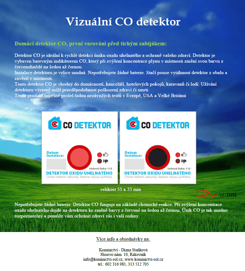 vizuální CO detektor