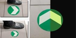 Podlahové orientační značení hliníkové se šipkou